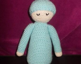 doudou bleu pour bébé crochet