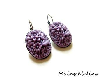 Bronze Flower Earrings purple resin