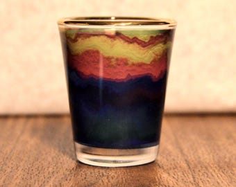 Multi Watercolor 1.5 oz glass shotglass with gold painted rim