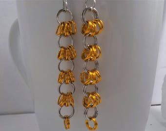 Chainmaille rings silver and yellow copper