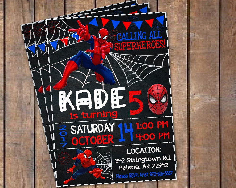 Spiderman Invitation, Spiderman Birthday Invitation, Spiderman ...