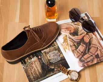 Leather woman oxford shoes