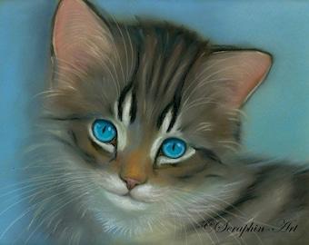 Tabby Kitten Original Pastel Painting