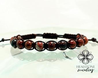 Natural Gemstone Shamballa Bracelet, Poppy Jasper Gemstone bracelet, Chakra healing bracelet, Chakra healing Shambala Bracelet