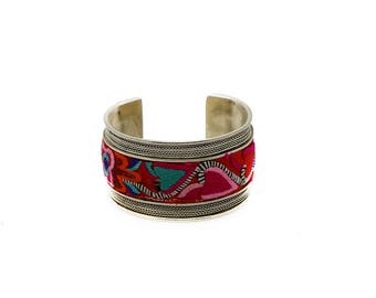 Silver bracelet embroidered with Butterflies/Miao Silver Bangle with Butterfly Embroidery Patterns