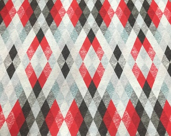 SALE! 1m Starlight red black and grey diamond pattern quilting fabric