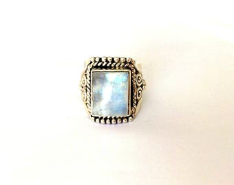 Sterling Silver Bali Style Moonstone Wide Band Ring Size - K/L