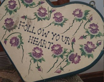 Vintage hand painted wooden heart