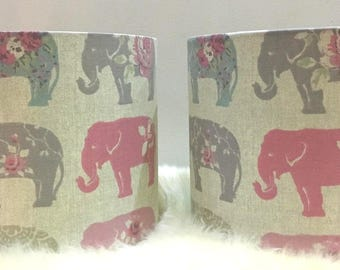 Pair of Fabric Lampshades Elephant Neutral Childrens Light Shade Lamp Handmade by Alice and Darcy