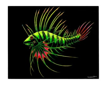 Limited Edition - Robot Lionfish - Scratchboard Art Print - 8.5 x 11""