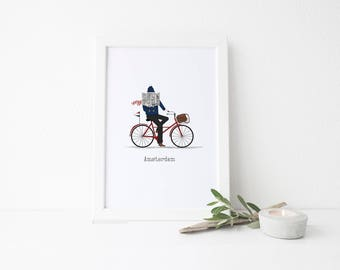 Amsterdam Travel Art Print - Morning Bicycle