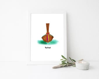 Thailand Travel Art Print - Long Tail Boat