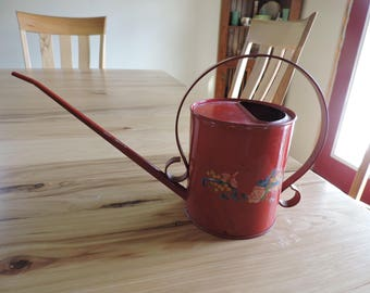 VIntage Watering Can, Mid-Century Red Metal Watering Can, Farmhouse Chic Watering Can with Floral Decal, Small Rustic Watering Can