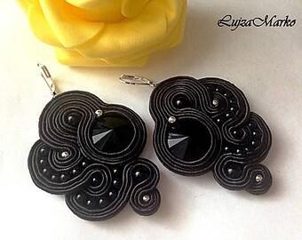 Black soutache earring
