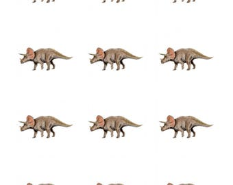 12 x Triceratops Dinosaurs Edible Stand Up Wafer Cupcake Toppers x 12
