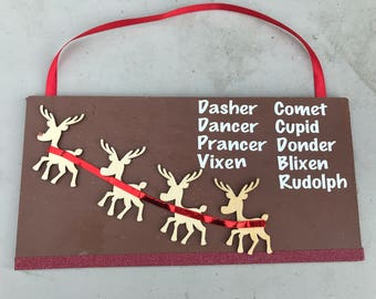 Christmas Reindeer sign/door hanger with Rudolph leading the way