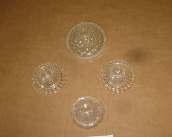 Assorted used Pressed Glass Dishes   Lot of 4   [geo3415bt]