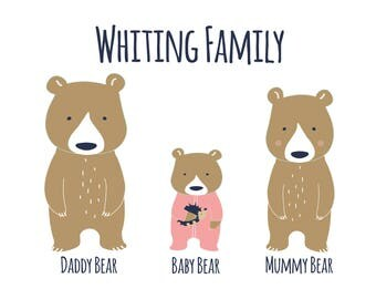 Personalised Three Bear Family with Baby in Sleepsuit