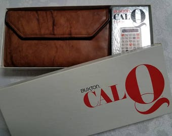 Vintage Buxton CalQ Leather Clutch Wallet with Box