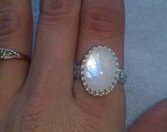 Handmade sterling silver moonstone ring size 9
