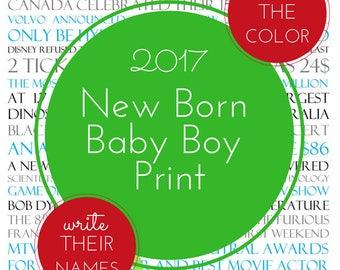 New Born Baby Boy Birthday Digital Print 2017 Custom Printable Gift