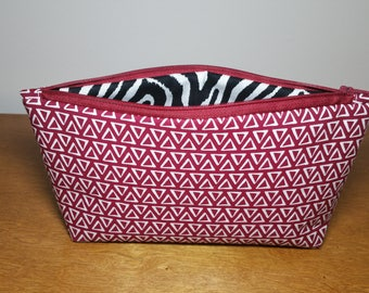 Red/Zebra Print Cosmetic Bag, Makeup Bag, Zipper Pouch, Gift for Her