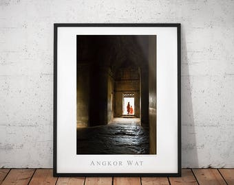 Angkor Wat Temple Travel Poster, Cambodia Travel Photography Print, Buddhist Monks Photo, Asia Archaeology Home Decor, Siem Reap Wall Art