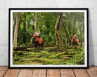 Cambodia Elephants Photo // Asian Jungle Wall Art, Asia Travel Photography, Buddhist Temple Ruins, Green Forest Home Decor, Bayon Temple