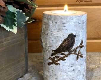 Artisan Wood-Burned Birch | Tealight Candle Holder | Bird on Branch