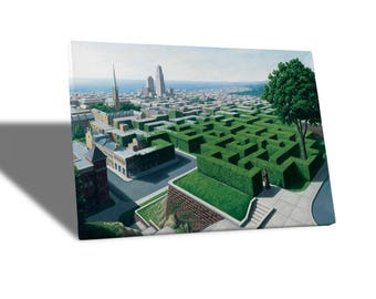 Canvas Canvas Prints-Rob Gonsalves-Into The Labyrinth-yellow BUS