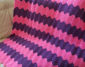 Chevron Ripple Afghan/Lap Robes and Throws/Crochet Afghans and Blankets/READY TO SHIP/Housewarming Gift