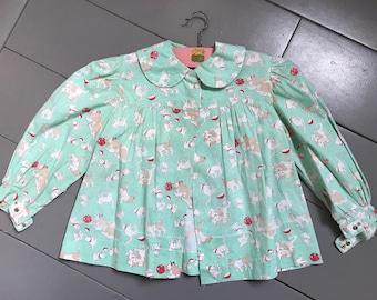 1950s mint green kitten print smock blouse w peter pan collar, girls vintage, 18m - 2 years