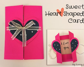 Heart Shaped Card perfect gift or wedding invitation | for girlfriend, boyfriend, wife, husband, mom, dad, mother, father