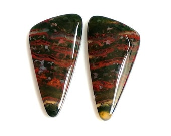 Blood Stone Fancy, Pair Cabochon,Size- 30x15,MM,Natural Blood Stone, AAA,Quality  Loose Gemstone, Smooth Cabochons.