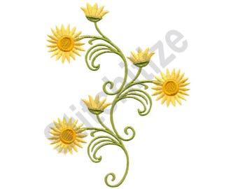 Flower Swirls - Machine Embroidery Design, Strawflowers