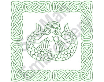 Celtic Knot Mermaid Square - Machine Embroidery Design