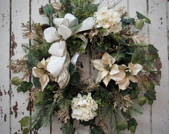 Ready to Ship - Non-traditional Holiday Wreath with Cream Poinsettia, Cream Hydrangeas, Gold Cedar adorned with a Cream and Gold Bow