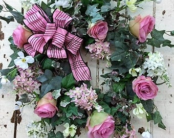 Lovely Pink Valentine's Day Wreath with Pink Roses, Lilac, Cream Cosmos with a Pink and Black Strip Bow