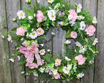 Pretty in Pink Wreath with Pink Mini Roses, Cream/Pink Daisies,  Eucalyptus, Fern and a Pink Sheer Bow- Ready to Ship