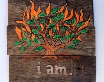 Burning Bush from Bible Story. Christian art from the story of Moses. Handpainted on reclaimed wood.