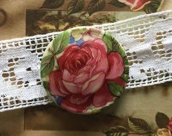 Porcelain Limoges - 28 mm flower button - vintage flower button button