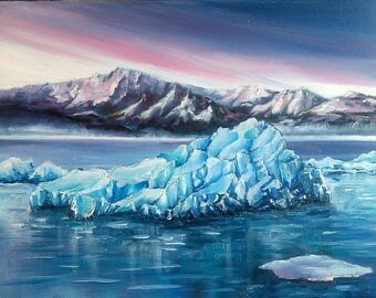 Iceberg original oil painting on canvas palette knife wall art