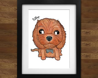 Personalised Cockapoo Caricature Print on 250gsm A4 high quality photo pape