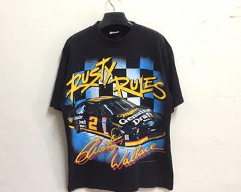 Rare!! Vintage 90s RUSTY WALLACE t-shirt  /rusty rules/copyright motorsports internantional corp/size large