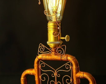 "Copper pipe lamp ""Concierge"""