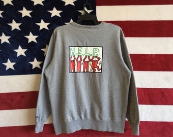 Vintage 90s Keith Haring American artist Sweatshirt Pullover K. Haring H.E.L.P Print Design Graffiti Artists Sweater Grey Colour Crewneck