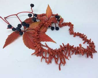 Vintage natural coral branch necklace