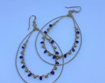 Handmade Amethyst Earrings - Gold Dangle Earrings - Stone Earrings - Drop Earrings - Earrings - Purple Earrings - Amethyst Jewellery