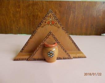 Wooden Napkin Holder ,Napkin Holder. Cottage Decor - Hand Painted Holder Handmade Napkin Holder -Old Napkin Holder -Toothpick holder