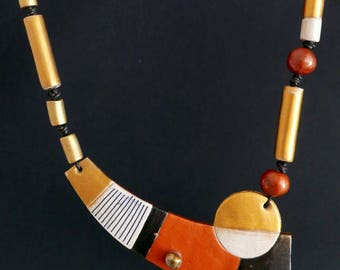 """NECKLACE #1 """"Spices"""" polymer clay art jewel"""